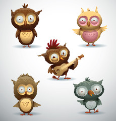 Vector Set of Owls. Cartoon image of five funny owls in different colors on a light background.