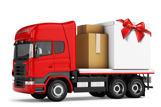 3d truck with packages delivery