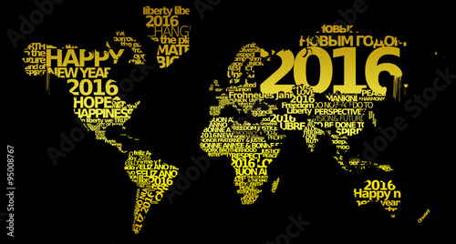 Happy new year 2016 golden world map words tag cloud yellow text happy new year 2016 golden world map words tag cloud yellow text greetings gold wishes worldwide m4hsunfo