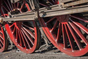 Wall Mural - vintage steam locomotive wheels and coupling rods