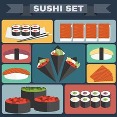 Sushi Plate big icon set
