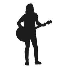 Guitar player, vector silhouette.