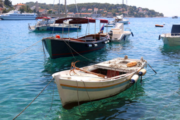 Rustic wooden boat in the town Hvar, on the island of Hvar, Croatia.