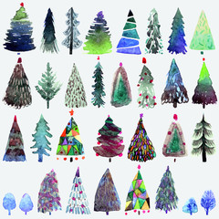 Big collection of watercolor Christmas tree isolated on a white background.