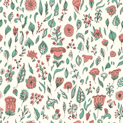 Beautiful seamless floral pattern, flower vector illustration.
