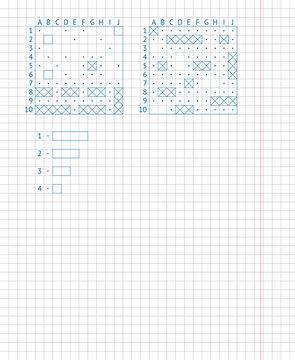 Children's school game — sea battle. Drawing on a school notebook sheet.