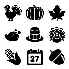 Thanksgivin Icons Set Isolated on White Background. Vector