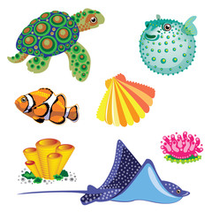 Set of Sea Animals.