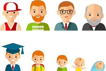 Set of european age group avatars man in colorful style