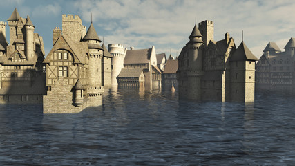 Fototapete - Flooded Medieval European or Fantasy Town - illustration