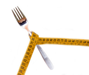 Fork with tape measure on white background