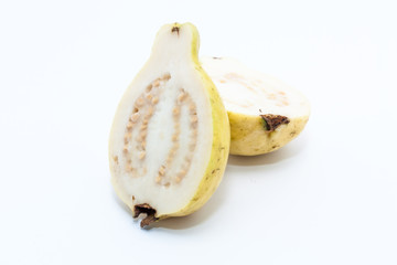 Guava fruit cut into two pieces