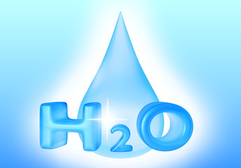 Drop of water with 3D text. 3D rendering.
