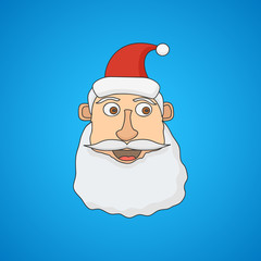 Santa Claus face on blue background. Vector illustration.