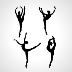 Creative silhouettes of 4 gymnastic girl. Art gymnastics or ballet dancing women, vector illustration