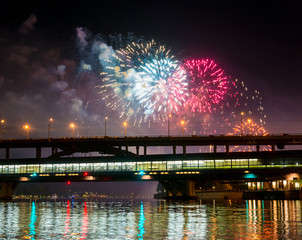 Fireworks over Moscow river - Russia