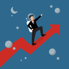 Businessman astronaut standing on a growing graph