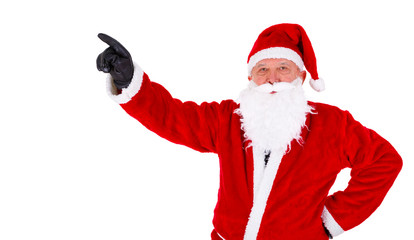 Christmas Santa Claus closeup portrait. Pointing at copyspace. Isolated on White Background