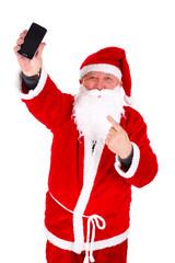 Santa Claus calling phone Portrait Isolated on White Background