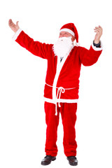 Santa Claus Portrait. Standing with hands open, full length Portrait Isolated on White Background