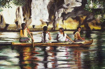 Painting four Indies on a boat on the Amazon river.