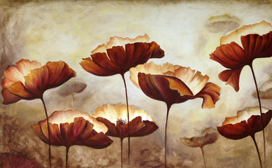 Painting poppies canvas