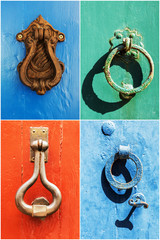 collage of vintage iron handles on old doors