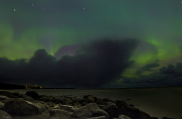 Northern lights, lake Ladoga ,Russia