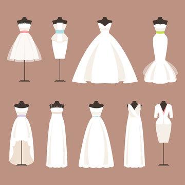 Styles of wedding dresses. Vector Illustration