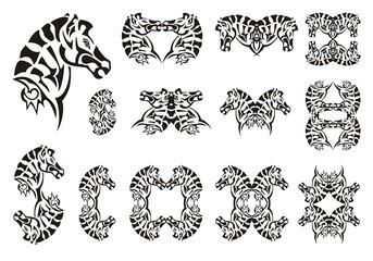 Tribal zebra head symbols. Set of vector zebra head  on the white background. Tattoo, symbol, zebra frame or element