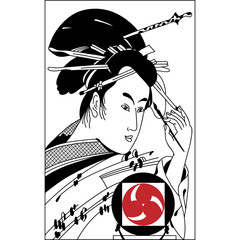 Hand drawn Samurai illustration. Vintage hand draw art.