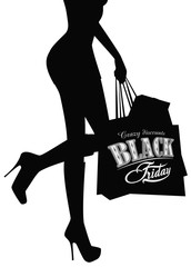 Elegant shopping woman Black Friday advertising background. Vector illustration