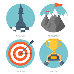 Vector illustration set. Flat business concept background. Achievements and mission. Aims and new ideas. Smart solutions. Travelling