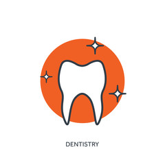 Vector illustration. Medical help.Flat web internet icon. Tooth. Dentistry