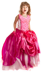 Canvas Prints Fairytale World Little girl in princess dress on the isolated background