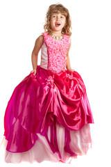 Foto op Plexiglas Sprookjeswereld Little girl in princess dress on the isolated background