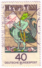 GERMANY - CIRCA 1976: A stamp printed in German Federal Republic shows Simplicissimus Teutsch, 300th Birth Anniversary of Johann Jacob Christoph von Grimmelshausen, Author, circa 1976