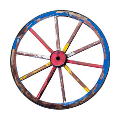 The Old wooden wheel on a white background