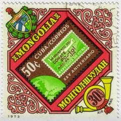 MONGOLIA - CIRCA 1973: A stamp printed in Mongolia shows Cuban stamp, circa 1973