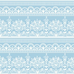 White seamless lace floral pattern.
