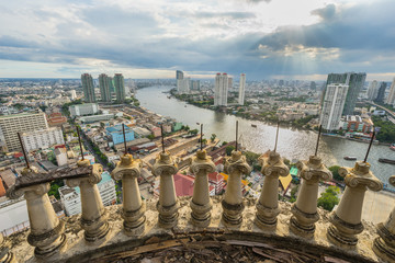 River view from unfinished high building sky scrapper in Bangkok, Thailand.