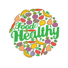 bright colorful background with a pattern of vegetables and fruits and the words healthy food on white background