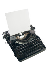 Old  type writer with paper sheet isolated on white