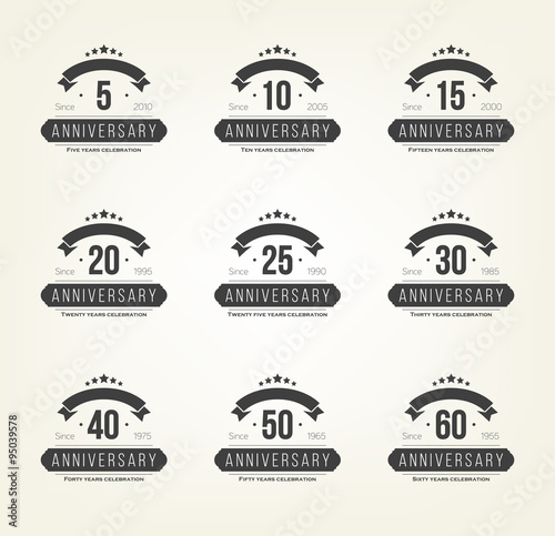 Vector Set Of Anniversary Signs Symbols 510 20 25 30 35 40