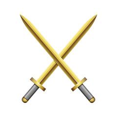 Two crossed golden swords on white background. Vector illustration 10 EPS