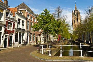 Dutch city of Delft with its canals and Old Church (Oude Kerk)