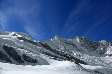 ski slopes on the glacier  at Saas Fee