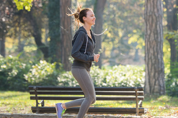 Pretty young girl  jogging