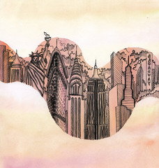 the new york city hand drawn on the wallpaper isolated on the color background