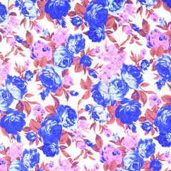 Fabric textile pattern with floral ornament for background
